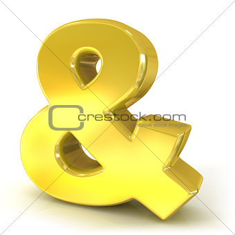 Ampersand 3D golden sign