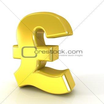 Pound 3D golden sign