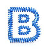 Spring, spiral cable font collection letter - B. 3D