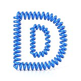 Spring, spiral cable font collection letter - D. 3D