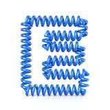 Spring, spiral cable font collection letter - E. 3D