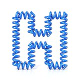 Spring, spiral cable font collection letter - H. 3D