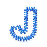 Spring, spiral cable font collection letter - J. 3D