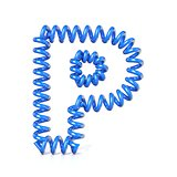 Spring, spiral cable font collection letter - P. 3D