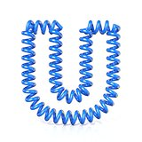 Spring, spiral cable font collection letter - U. 3D