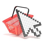 Shopping basket and pointing arrow cursor. Internet commerce con