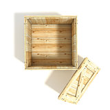 Opened wooden crate. Top view. 3D