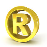 Registered trademark 3D golden sign