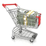 Money, dollar cash banknote, in trolley shopping cart. 3D