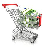 Money, euro cash banknote, in trolley shopping cart. 3D