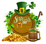 St. Patrick's day party text greeting card. Gold coins, wooden barrel and mug beer, gold horseshoe, hat and leaves clover
