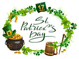 Patricks Day accessories pot gold, beer mug, clover leaf, March 17, wreath grass