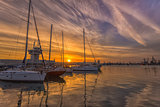Yachts and boats at sunset in the harbor. Black sea, Varna, Bulgaria.