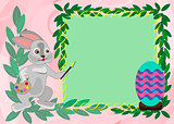 Easter card template with rabbit