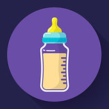 baby milk bottle icon. Baby bottle vector flat icon