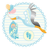 Cartoon stork with baby. Design template for greeting card