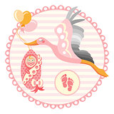 Stork carrying a cute baby. It s a girl Vector illustration.