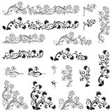 Set of swirl floral design elements