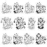 Set of twelve floral design elements