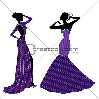 Attractive graceful Ladyes in long gowns