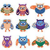 Set of nine amusing owls