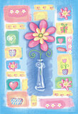 Beautiful hand drawn card with flower in a vase.