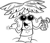 Cartoon Palm Tree Wearing Sunglasses and Holding a Drink