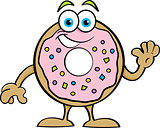 Cartoon Happy Donut Waving
