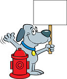 Cartoon Dog Taking a Selfie with a Fire Hydrant