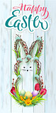 Happy Easter wreath rabbit. Hand written calligraphy text greeting card