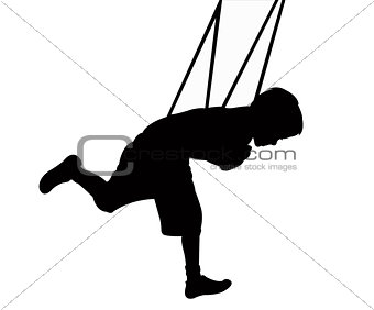 a boy on swing, silhouette vector