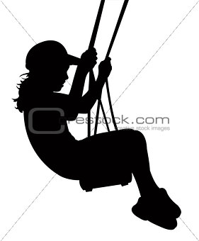 a girl on swing, silhouette vector