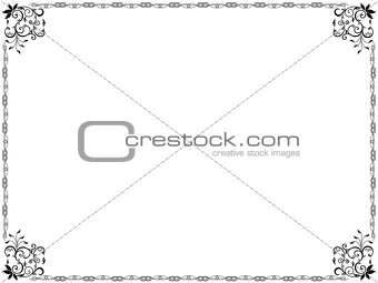 Pattern framed with swirl floral elements