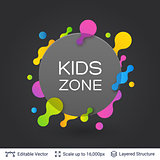 Black badge Kids Zone sticker.