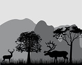 Deer and mountains