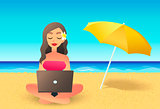 Young woman using laptop computer on a beach. Freelance work concept. Cartoon flat girl working near the ocean. Freelancer working on vacation