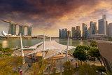 Singapore City Skyline by Marina Bay Sunset