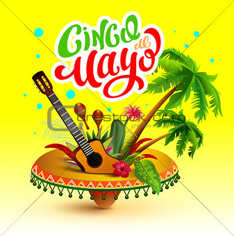 Cinco de Mayo banner. Lettering text greeting card