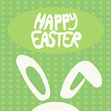 Happy Easter greeting card with rabbit, bunny and text on green background