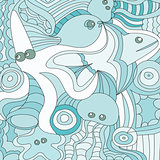 Cartoon hand drawn doodles nautical, marine illustration. detailed background