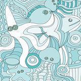 Cartoon hand drawn doodles nautical, marine illustration. detailed background