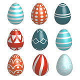 Set of nine realistic colorful vector Easter eggs with simple pattern and shadow