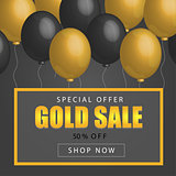 Sale Poster with shiny balloons on dark Background with golden, glitter frame