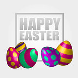 Happy Easter background with realistic decorated eggs. Greeting card design