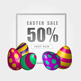 Easter sale banner with beautiful colorful eggs. Vector Spring illustration.