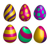Vector set of realistic happy easter eggs in different forms isolated. 3D