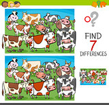 find differences with cows farm animal characters