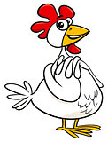 hen farm animal character cartoon illustration