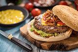 Tasty homemade burger