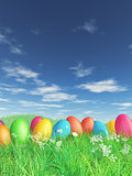 3D Easter eggs in grass and daisy landscape